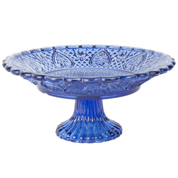 Image of Vintage Crystal Look Blue Glass 20cm Cake Plate Display Stand