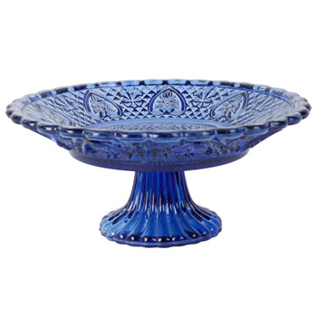 Image of Vintage Crystal Look Blue Glass 25cm Cake Plate Display Stand