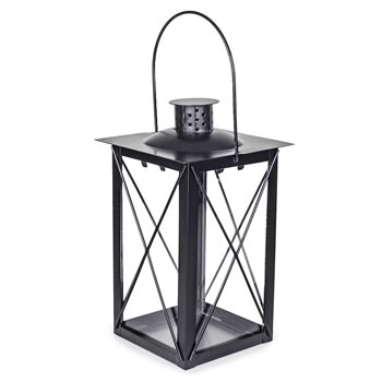 Extra image of Traditional Black Metal & Glass 20cm Garden or Home Candle Lantern