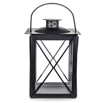 Image of Traditional Black Metal & Glass 20cm Garden or Home Candle Lantern