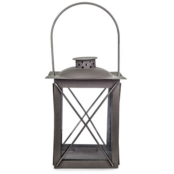 Image of Farol' Charcoal Grey Metal Traditional 20cm Garden Lantern with Handle