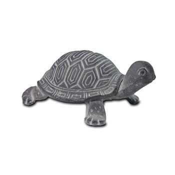 Image of Verdigris Grey Finish Cast Iron Tortoise Garden Ornament