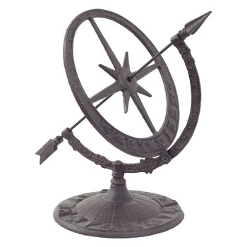Image of Cast Iron Decorative Sundial Armillary Garden Ornament