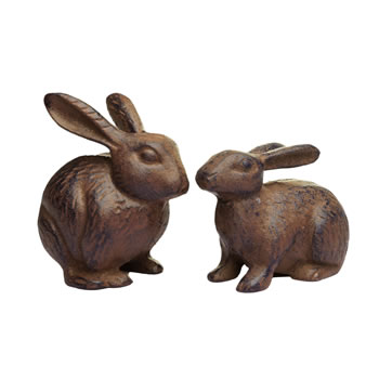 Image of Pair of Cast Iron Rabbit Garden Ornaments