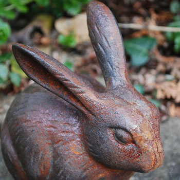 Extra image of Pair of Cast Iron Rabbit Garden Ornaments