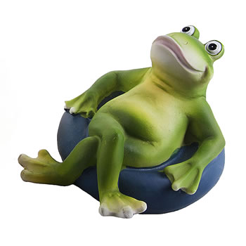 Image of Floating Frog on Blue Rubber Ring Resin Pond Feature