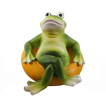 Image of Floating Frog on Yellow Rubber Ring Resin Pond Feature