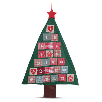 Image of Christmas Tree Advent Calendar Red & Green Fabric with Numbered Pockets