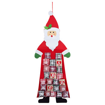 Image of Large Fabric Father Christmas Shaped Advent Calendar