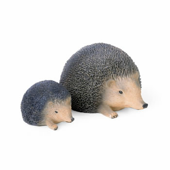 Image of Lifelike Resin Hedgehog Ornaments For The Garden - Set of Two