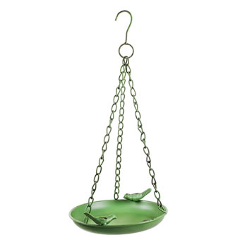 Image of Braddock' Hanging Green Metal Bird Bath or Feeder Bowl for the Garden