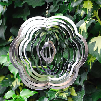 Image of Flower Shaped Steel Windspinner For The Garden