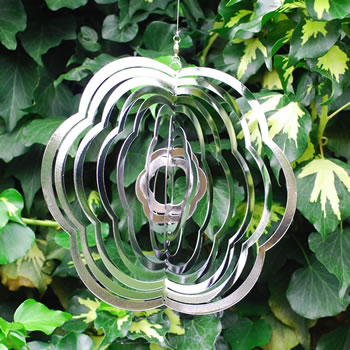 Extra image of Flower Shaped Steel Windspinner For The Garden