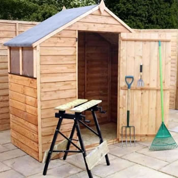 Image of 6 x 3 Budget Wooden Overlap Apex Garden Shed