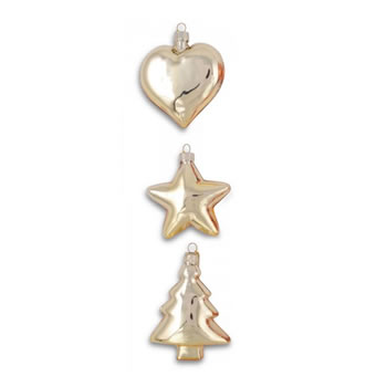 Image of Set of Three Gold Glass Christmas Tree Bauble Decorations