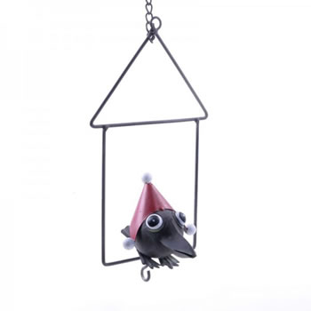 Image of Hanging Metal Christmas Fat Ball Holder Bird Feeder