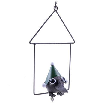 Image of Hanging Metal Green Christmas Fat Ball Holder Bird Feeder