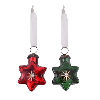 Image of Set of Two Star Shaped Glass Christmas Baubles in Red & Green