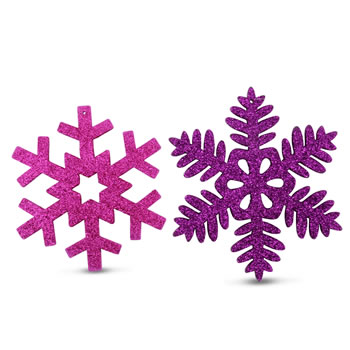 Image of Set of Two Wooden Snowflake Tree Decorations with Purple & Pink Glitter Finish
