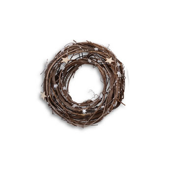 Image of Small Natural Twig Handmade Christmas Wreath with Star Detail