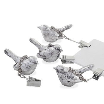 Image of Set of Four Clip-On Antique Silver Wren Bird Tablecloth Weights Garden Accessory