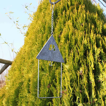 Extra image of Hanging Rustic Grey House Shape Fatball Holder Bird Feeder