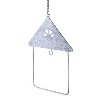 Image of Hanging Rustic Grey House Shape Fatball Holder Bird Feeder