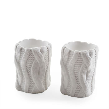 Image of Small Knitted Look Ceramic Tealight Holder Set