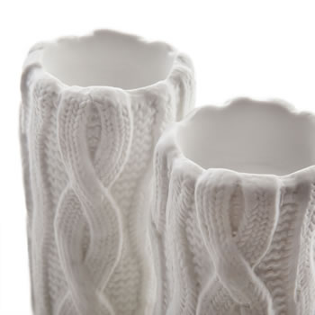 Extra image of Small Knitted Look Ceramic Tealight Holder Set