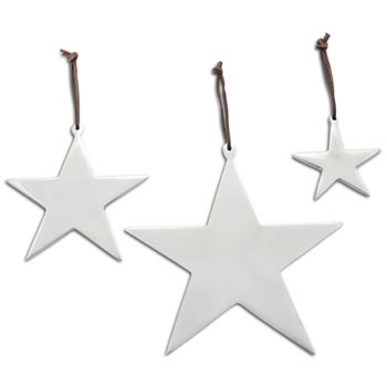 Image of Set of Three Hanging Aluminium Star Christmas Decorations