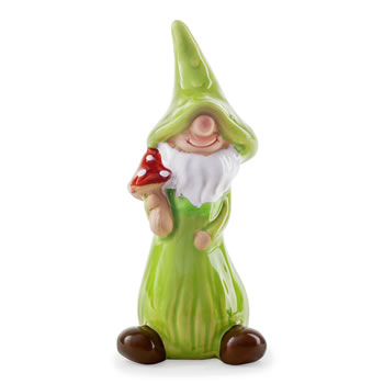 Image of Jimmy the Mushroom Collecting Terracotta Garden Gnome Ornament