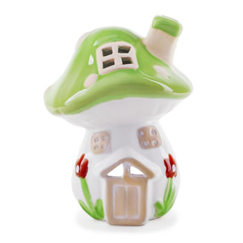Image of Mushroom House Terracotta Tealight Lantern for Garden or Home