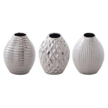Image of 'Celly' Silver Stoneware Contemporary Trio of Bud Vases for the Home