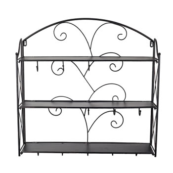 Extra image of Buxton Wall Mountable Black Metal Shelving Rack with Coat Hooks