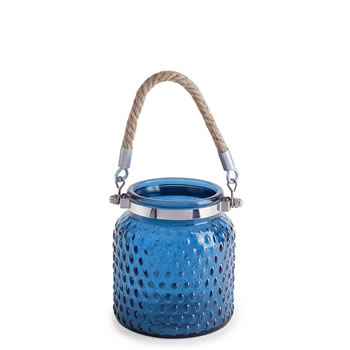 Image of 'Blakeney' Coastal Nautical Blue Glass Lantern with Rope Handle