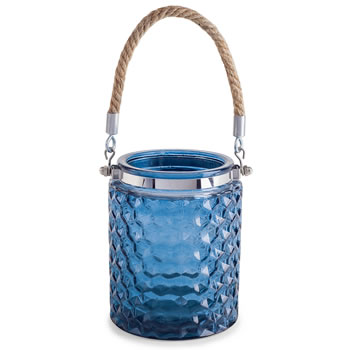 Image of 'Bude' Coastal Nautical Blue Glass Windlight Lantern with Rope Handle