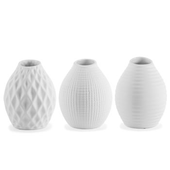 Image of 'Nixie' White Patterned Porcelain Vase Trio for Home Decor