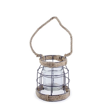Image of Carlo' Metal & Rope Nautical 18cm Garden Home Wedding Lantern
