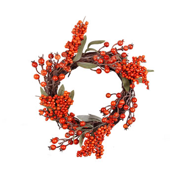 Image of Artificial Orange Berry Christmas Wreath