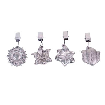 Image of Set of Four Clip-On Flower Shaped Metal Tablecloth Weights
