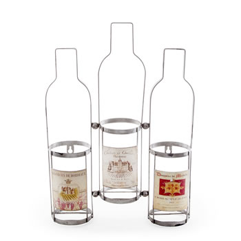Image of Wall Mountable Triple Wine Bottle Rack with Vintage Labels