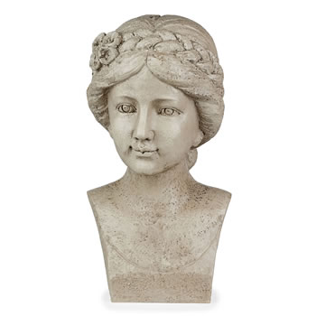 Image of Stone Look Resin Flower Girl with Braid Bust Garden Statue Ornament