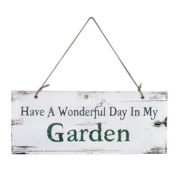 Image of Have A Wonderful Day In My Garden' Rustic Wooden Garden Sign