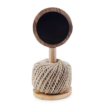 Image of Wooden Twine Ball Holder with Blackboard Garden Accessory