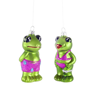 Image of Mr & Mrs Holiday Frog Glass Bauble Christmas Tree Decorations