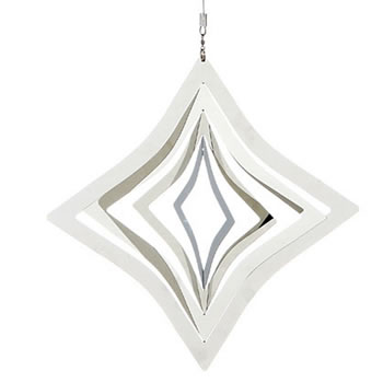 Image of Hanging Rhombus Silver Metal Garden Windspinner Ornament