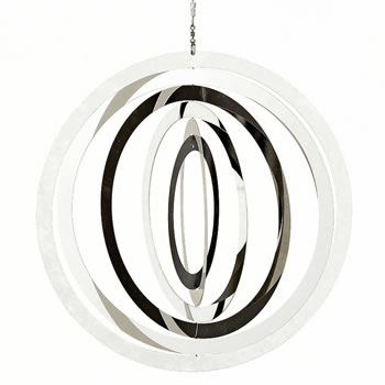 Image of Large Stainless Steel Circle Hanging Garden Windspinner