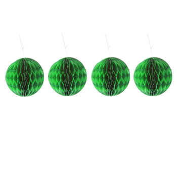 Image of Pack of Four Green 10cm Honeycomb Retro Pom Pom Decorations