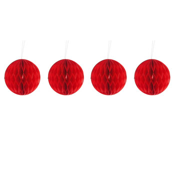 Image of Pack of Four Red 10cm Honeycomb Retro Pom Pom Decorations