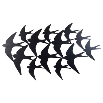 Image of Large Black Metal Flying Swallow Bird Silhouette Wall Art